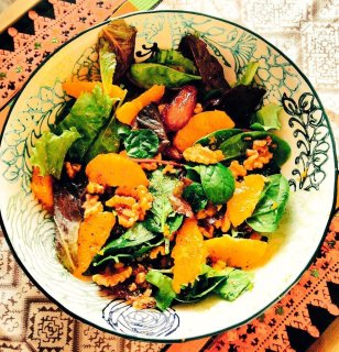 Mejdool Dates, Orange & Roasted Pine Nut Salad with orange blossom dressing